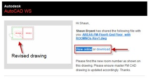 Email received from AutoCAD WS with option to download revised drawing from the cloud.