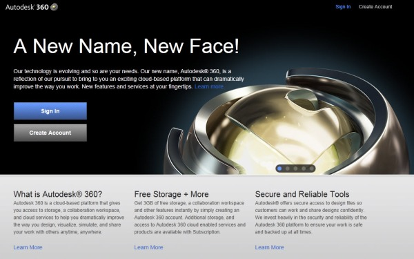 The Autodesk 360 front page.
