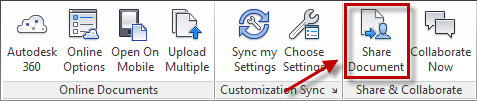 The Online tab panels and icons, with Share Document highlighted.