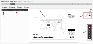 An Autodesk DWG layout open in Autodesk 360 with various tools highlighted.