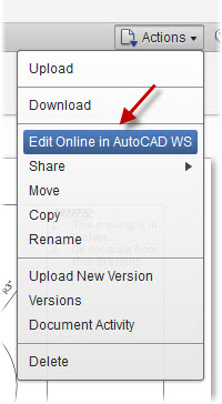 Actions pulldown showing Edit Online in AutoCAD WS.