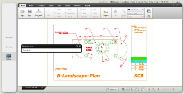 AutoCAD WS with the drawing from Autodesk 360 ready for editing.