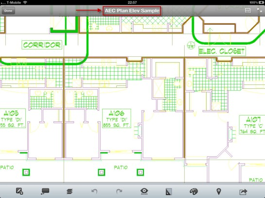 AutoCAD WS, with the loaded drawing ready for editing.