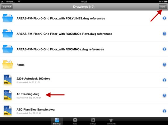 Drawing list in AutoCAD WS showing drawing used and Sync button on iPad.
