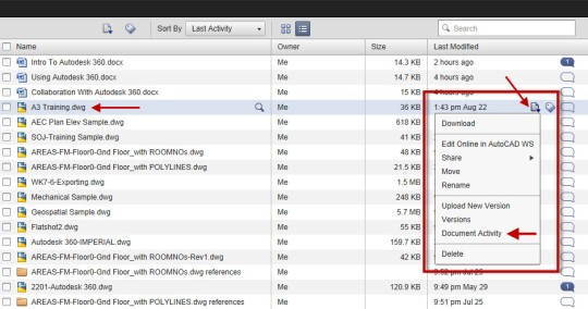 Autodesk 360 at the fixed location showing where to find Document Activity on the Actions sub-menu.