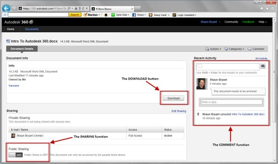 Screenshot showing download, comment and sharing functions.