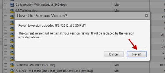 The option to revert to a PREVIOUS version of the document.