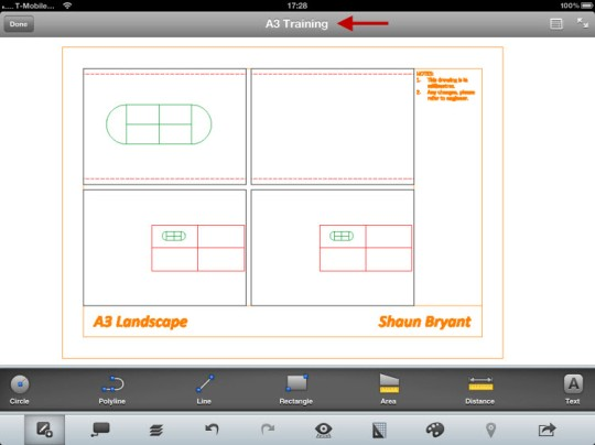 A3 Training.dwg open in AutoCAD WS on the iPad.