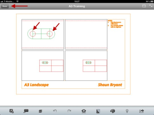 A3 Training.dwg showing the two red circles added.