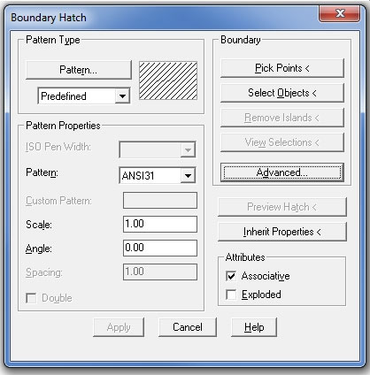 In the Boundary Hatch dialog box in AutoCAD Release 14, you make your selections and then press Preview to see how it all looks.